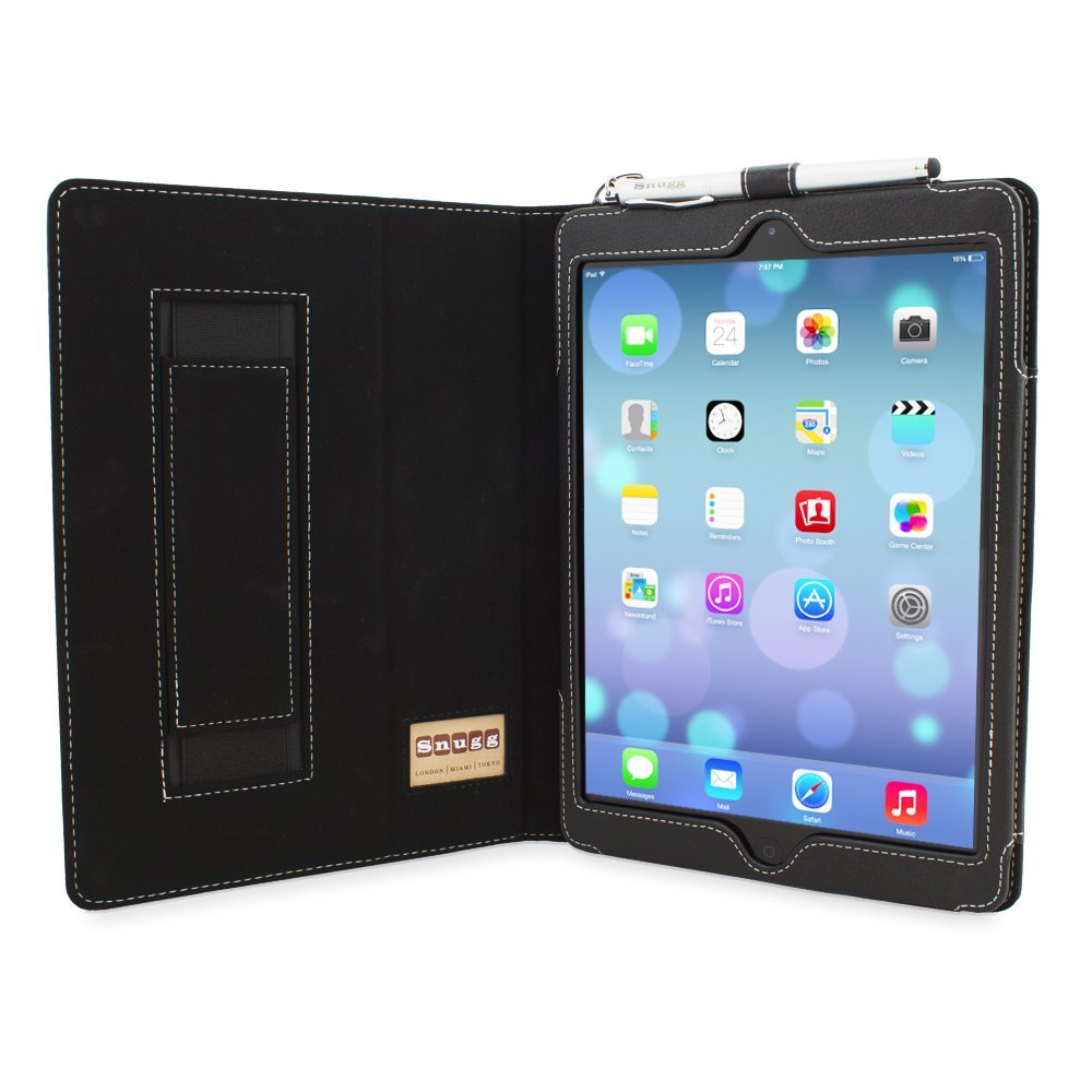 There is an elastic strap on the inside of the folio cover that you can slip your hand into and hold your iPad more securely. The case has magnetic sections that trigger the iPad Air 2's Sleep/Wake functions. Snugg's iPad Air 2 smart folio is available in a variety of colors on Amazon for $